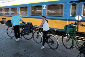 Getting ready to load the bikes on the train