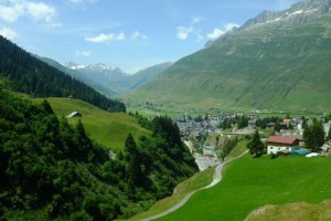 Looking back at Andermatt from the train to Disentis