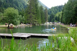 Swimming hole at Camping Disentis