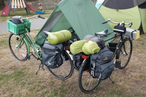 Both bikes, about two-thirds packed.