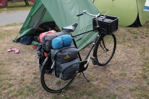 Test packing the Parminator - front crate still on and sleeping bags not in dry sacs.