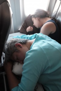 The ladies catch some Z's on the flight
