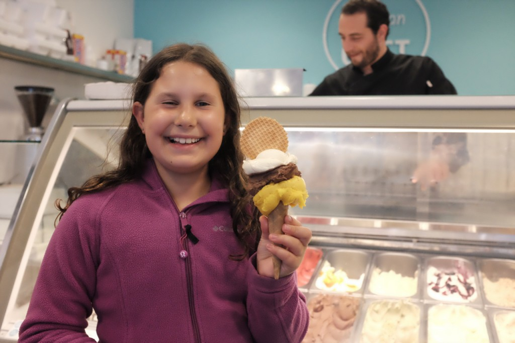 The nice man behind the counter gave a TRIPLE scoop when he heard it was Jette's birthday.