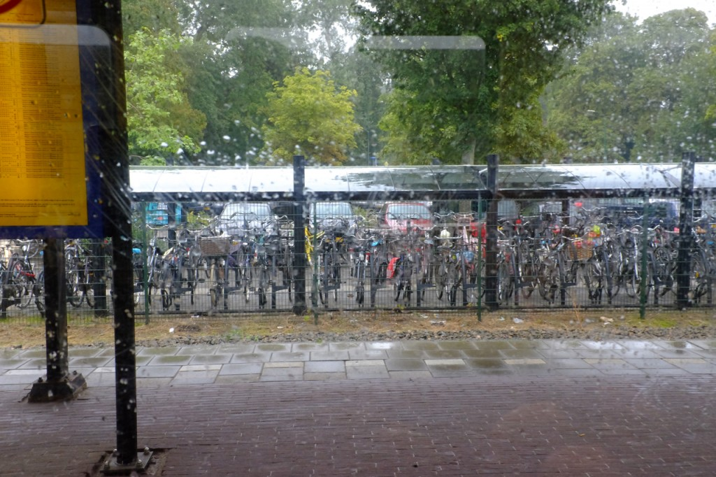 Bike parking at one of the little stations along the way