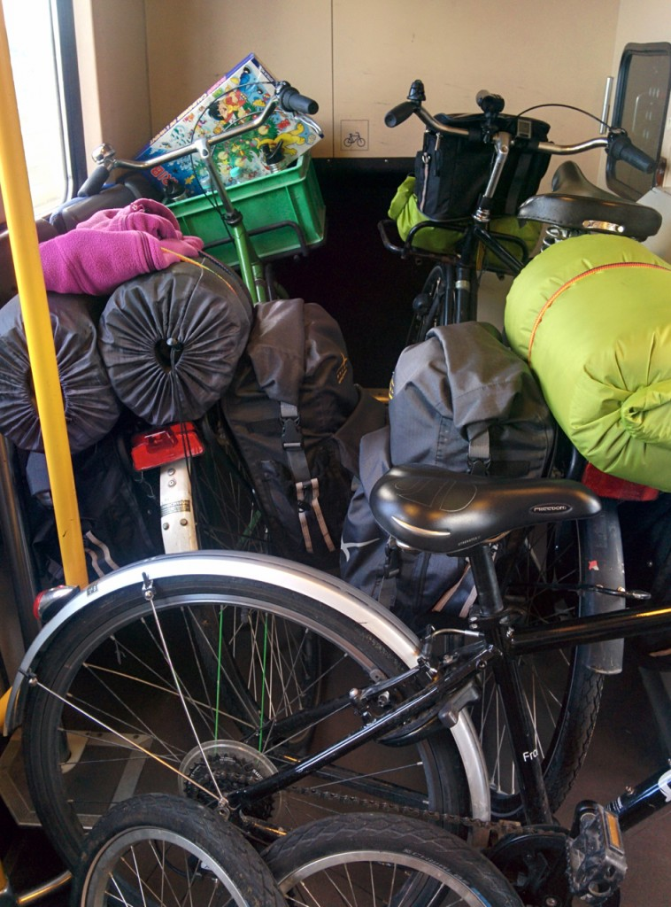 Bikes crammed into the train