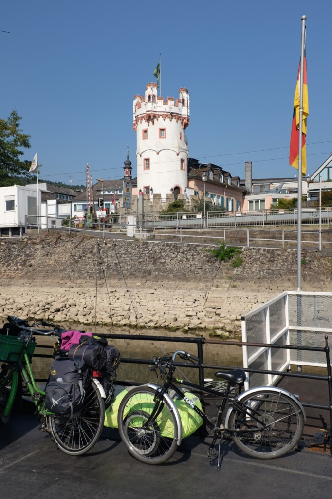 Looking back at Rudesheim from the Ferry