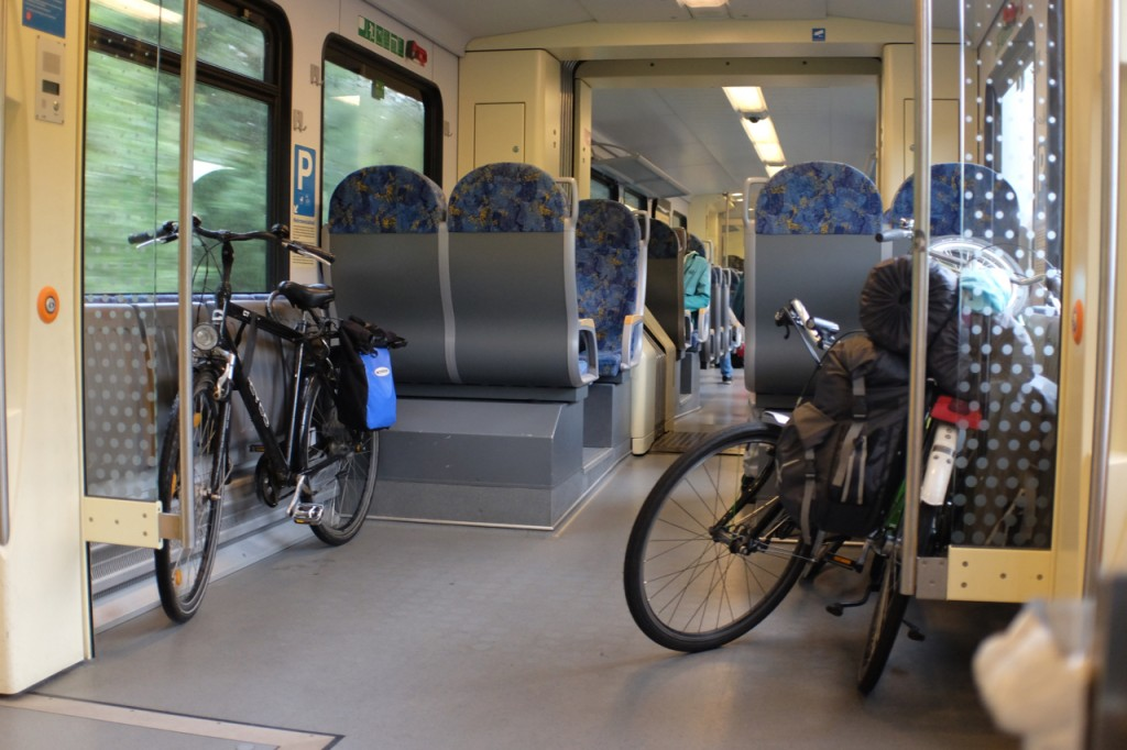 Our bikes and another on the train