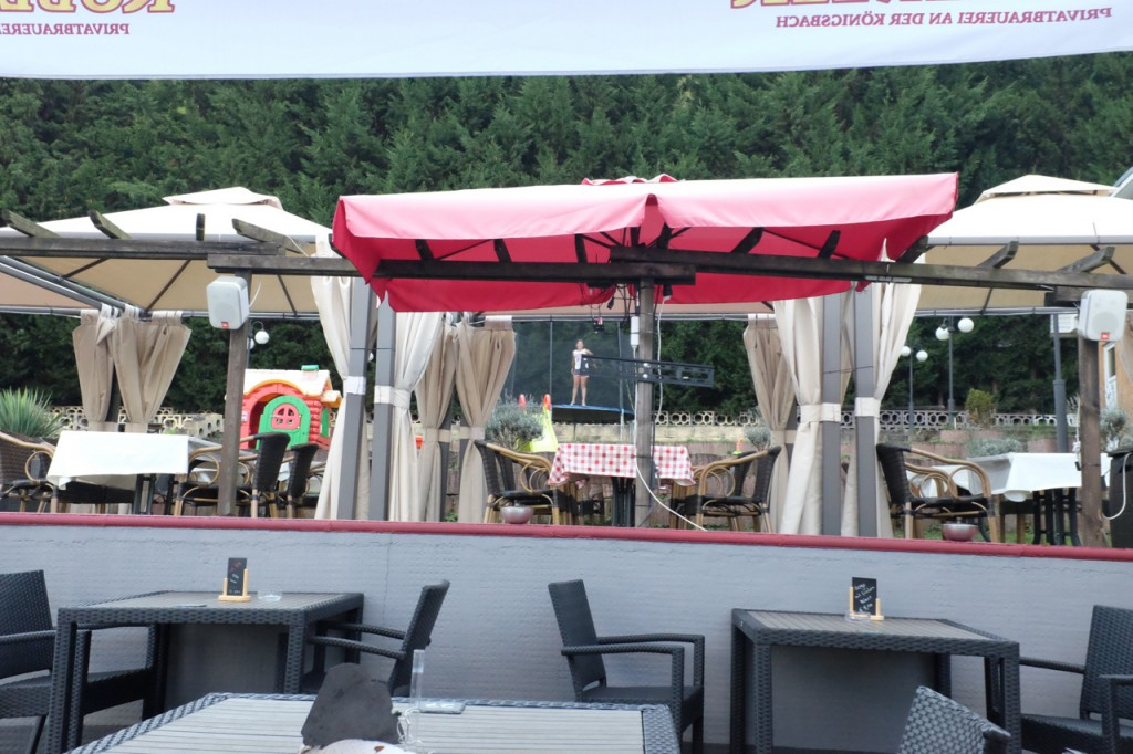 Restaurant patio with trampoline