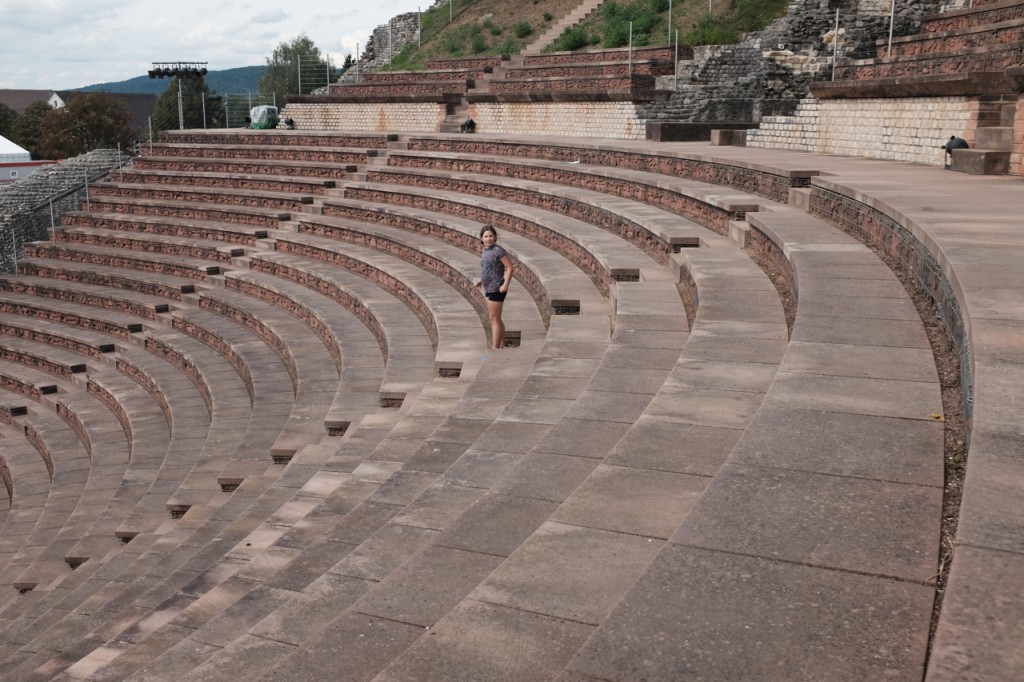 The steps and seats of the theater
