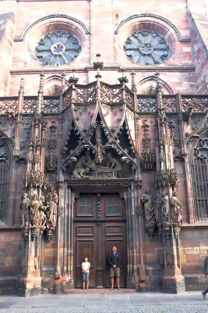 In the doorway of the Strasbourg cathedral