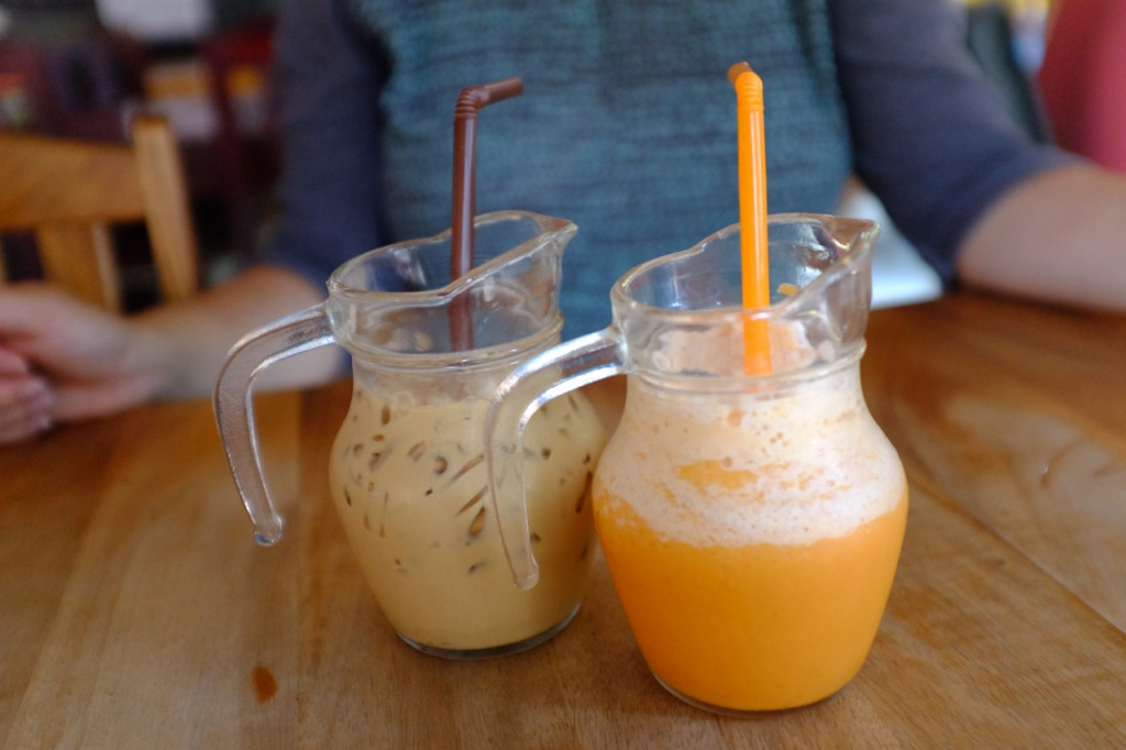 Thai tea and fresh juice