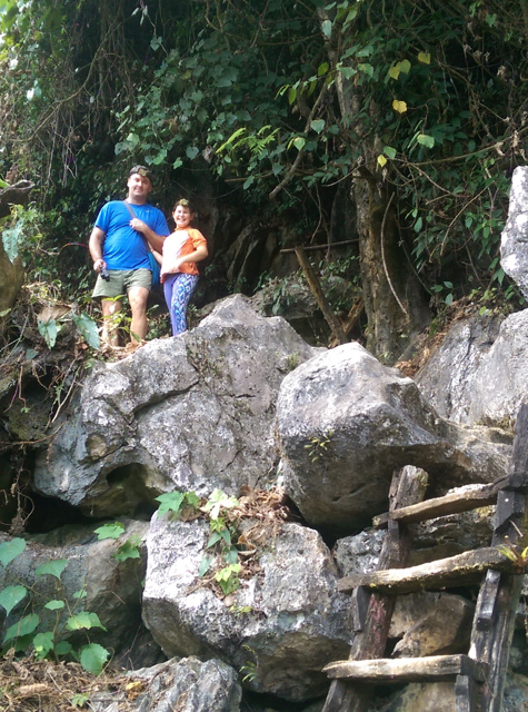 climbing to cave entrance