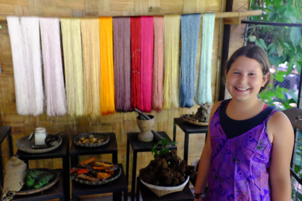 Learning about dyeing silk naturally