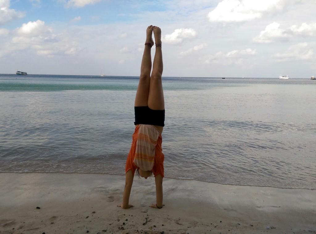 Beach handstand.