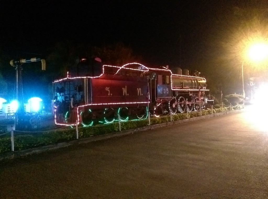 Vintage train with holiday lights
