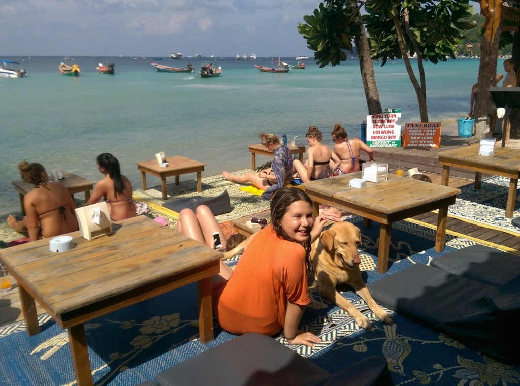 Jette and a friend at our favorite beachside restaurant.