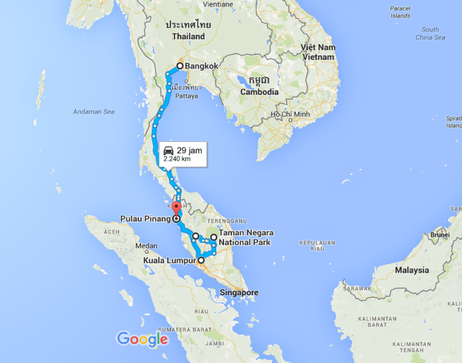 Bangkok, Thailand ke Pulau Pinang, Malaysia - Google Maps