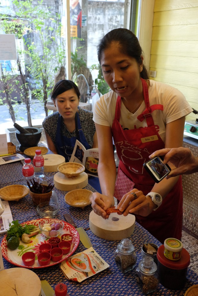 Curry paste demonstration.