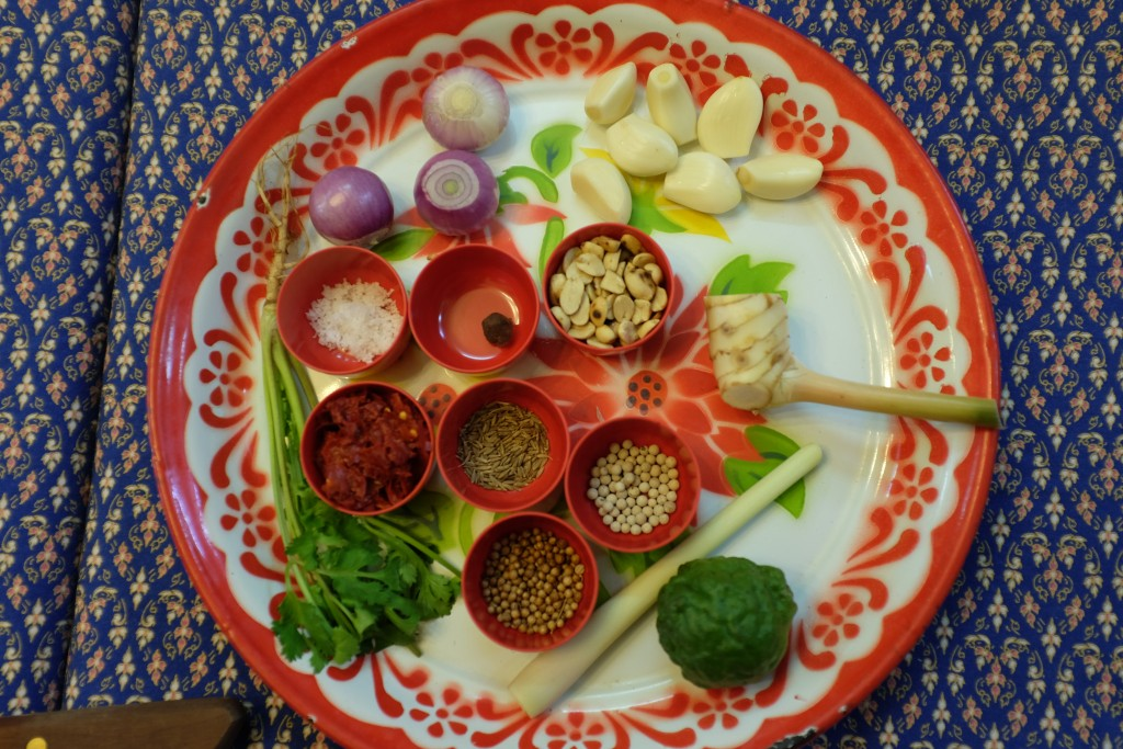 Ingredients for Penang curry paste.