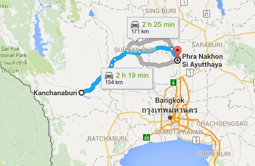 Kanchanaburi to Ayutthaya