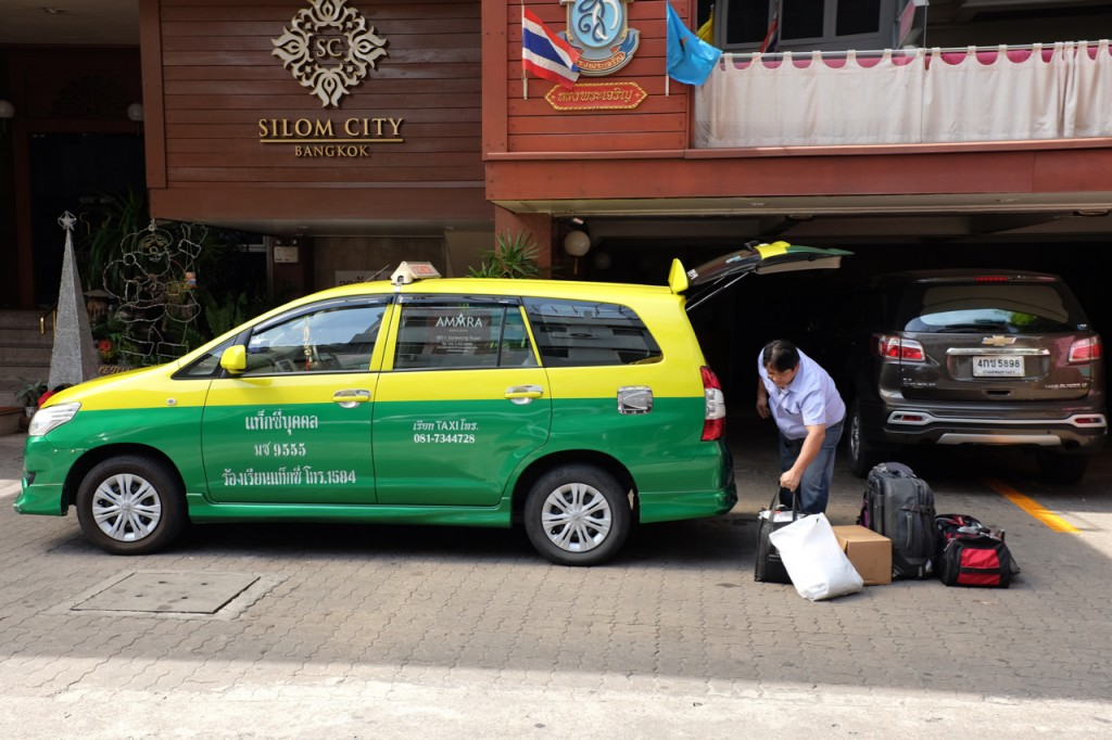 Packing the taxi for Kanchanaburi