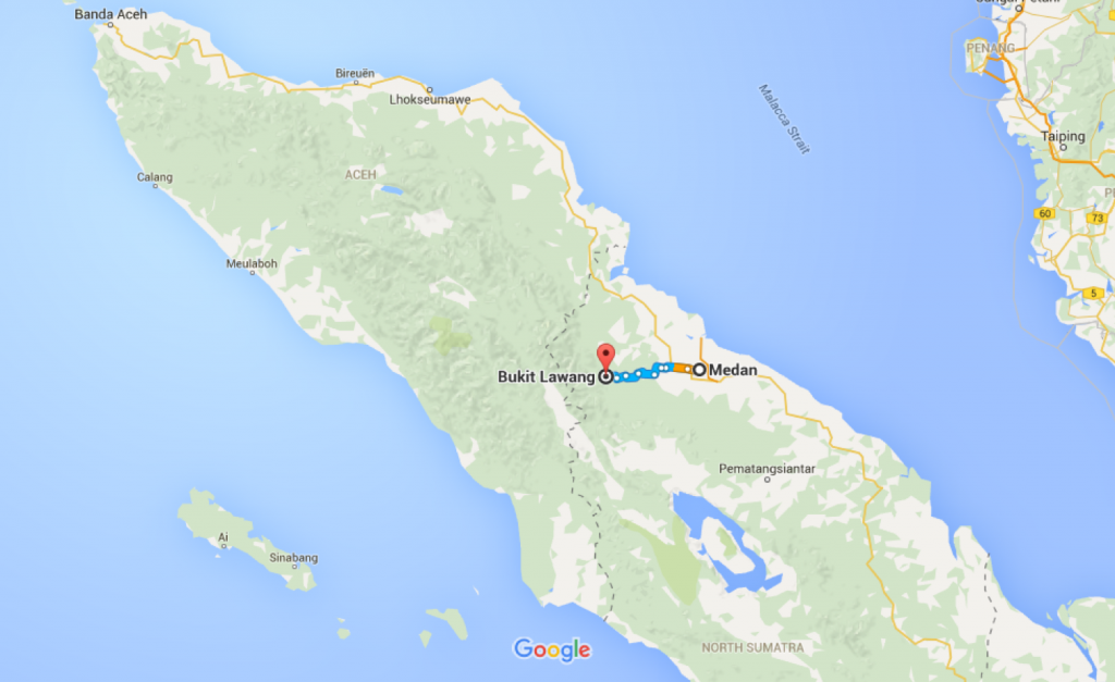 Medan, Medan City, North Sumatra to Bukit Lawang, North Sumatra - Google Maps