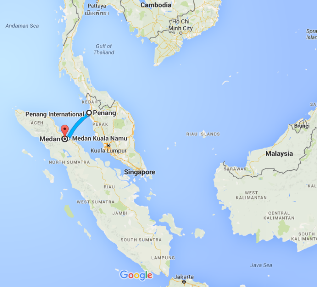Penang, Malaysia to Medan, Medan City, North Sumatra - Google Maps