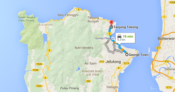 Penang Map Georgetown to TT