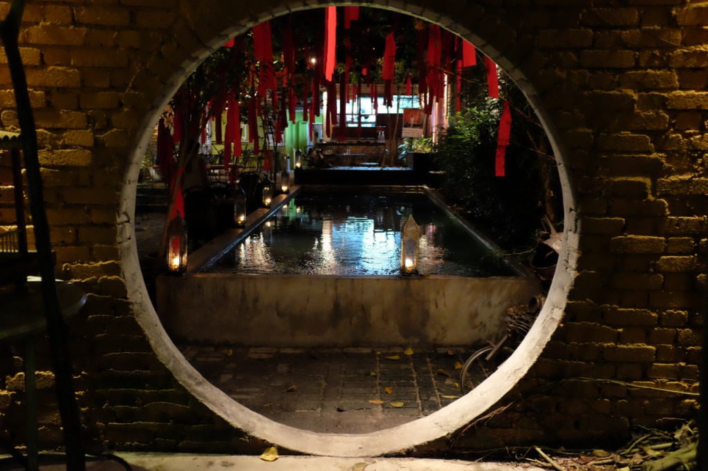 The circular doorway to the lounge and live music area at China House