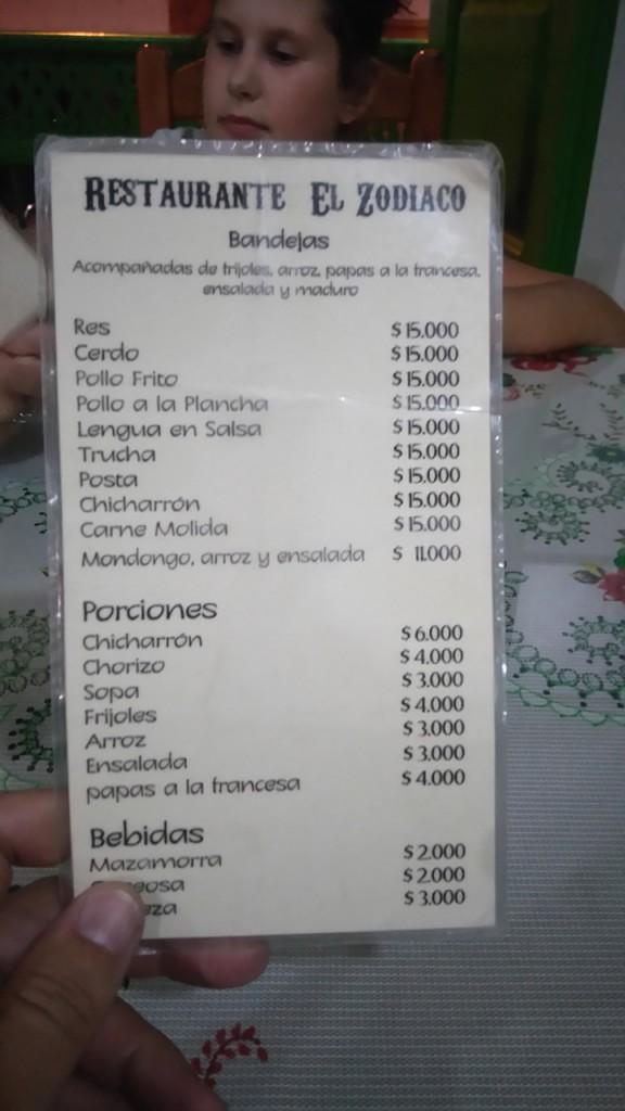 Un menu typico