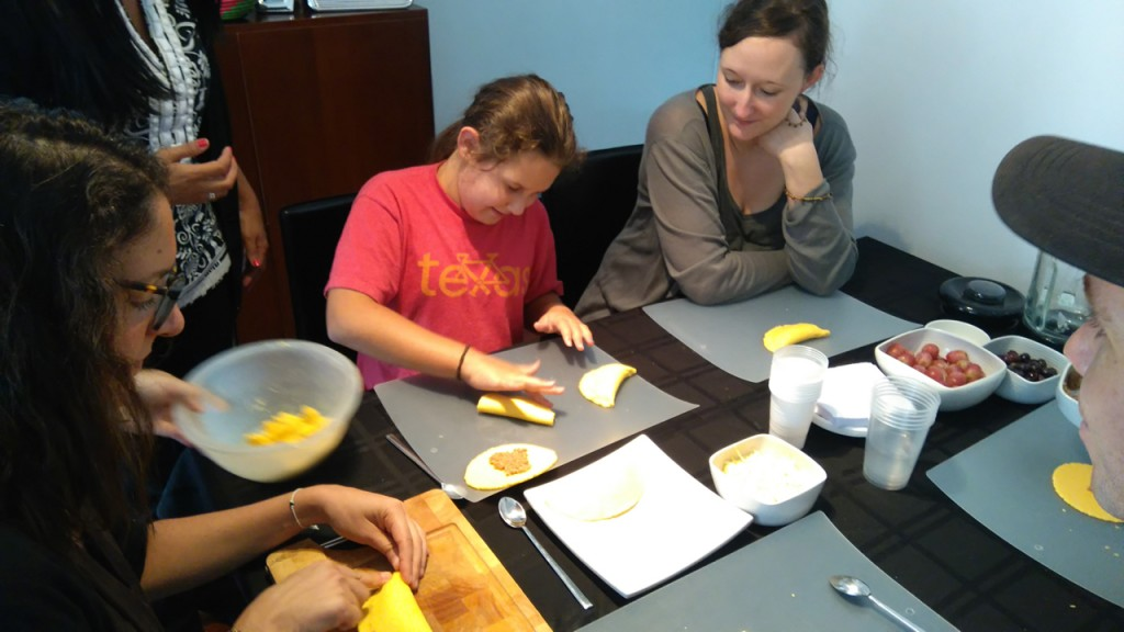 Making empanadas in our cooking class.