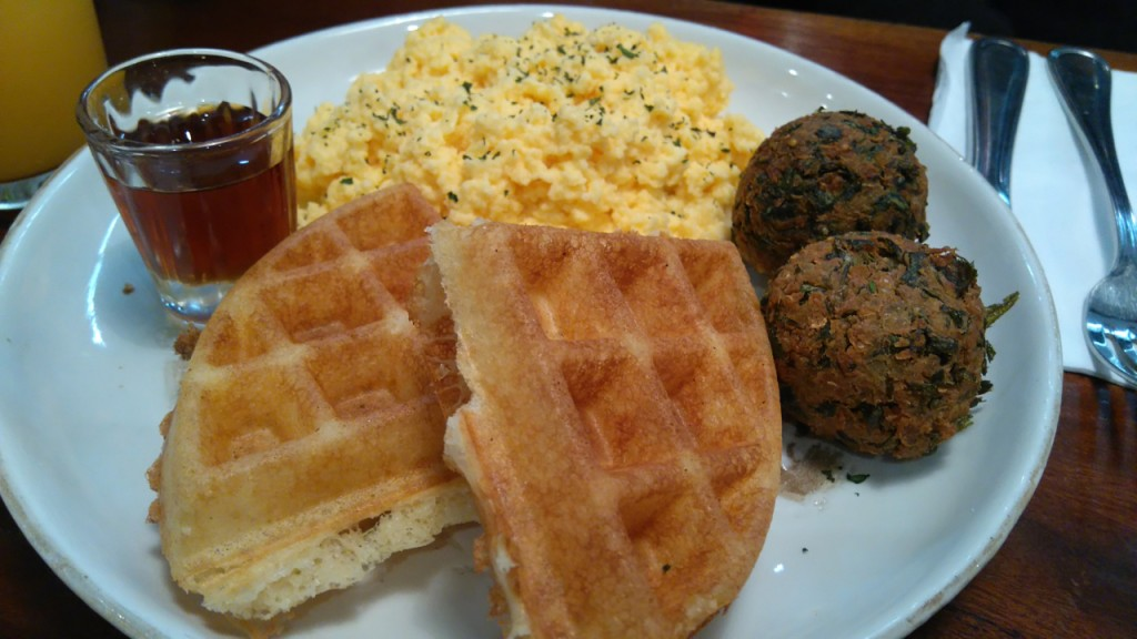 Waffles, eggs, and veggie meatballs.