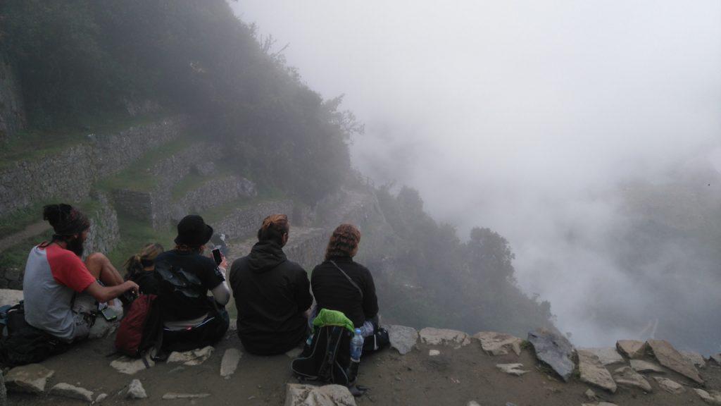 Clouds obscure Machu Picchu
