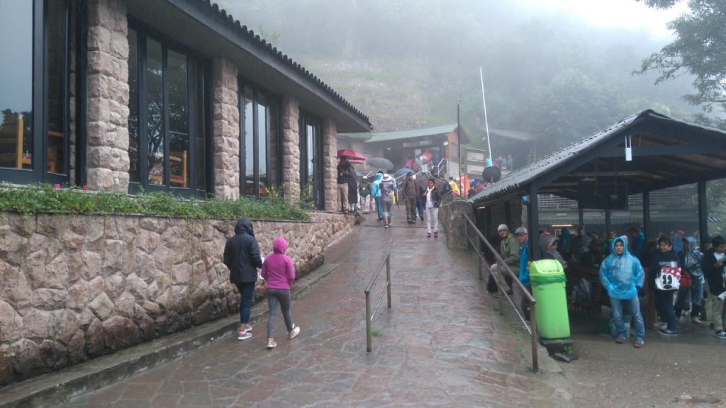 Foggy, rainy entrance to Machu Picchu
