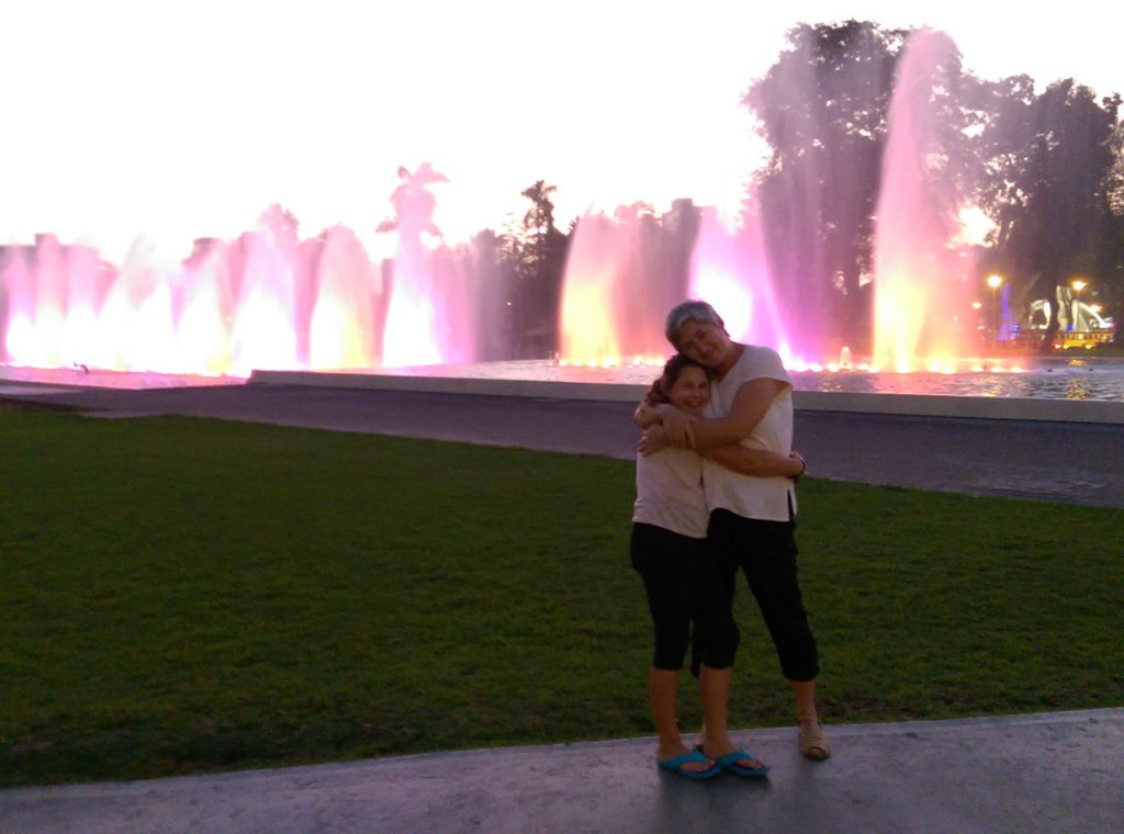 Fountain hugs.