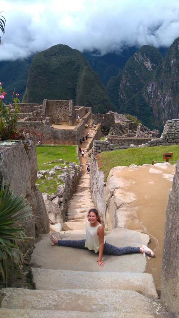 Machu Picchu inspired Jette to do the splits