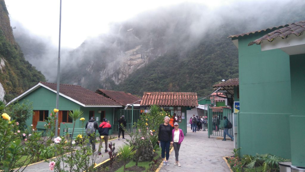 Morning fog and clouds as we arrive in Aguas Calientes