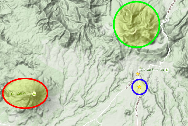 The red circle is Sinabung (just erupted), the green circle is Sibayak (the one we climbed), and the blue circle is the house where we stayed.
