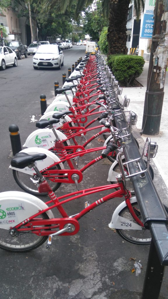 CDMX bike share bicycles.