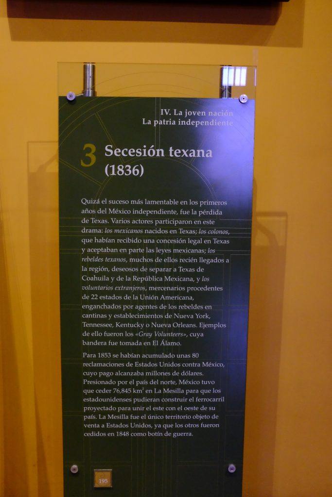 The museum's explanation of the Secession of Texas.