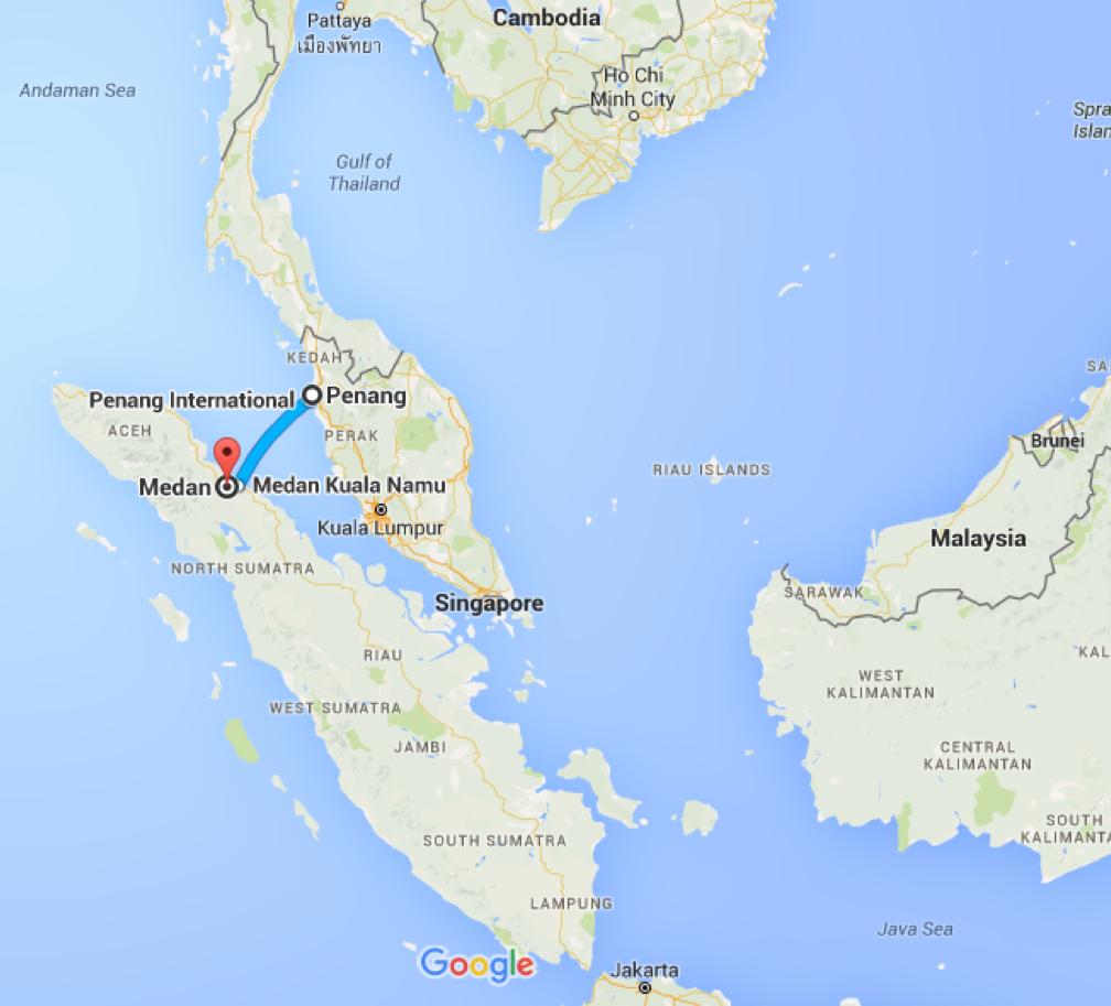 Penang, Malaysia to Medan, Medan City, North Sumatra – Google Maps ...